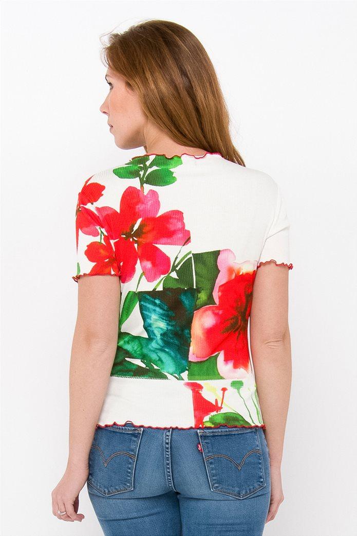 Desigual γυναικεία μπλούζα με hibiscus print 2