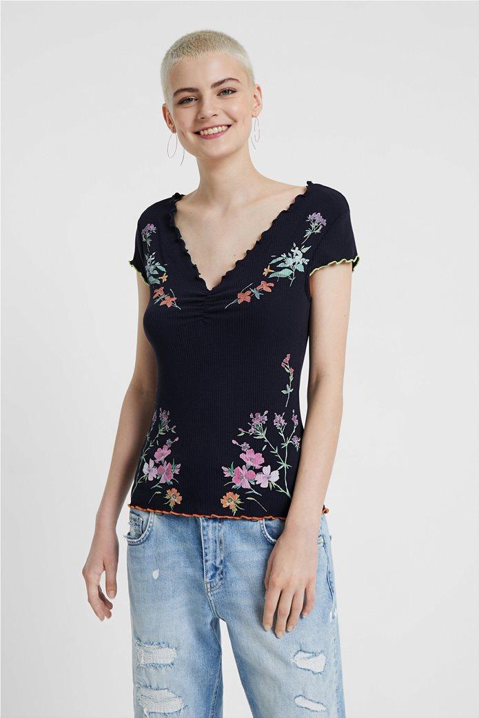 "Desigual γυναικεία ribbed μπλούζα με floral print ""Vilna"" 0"