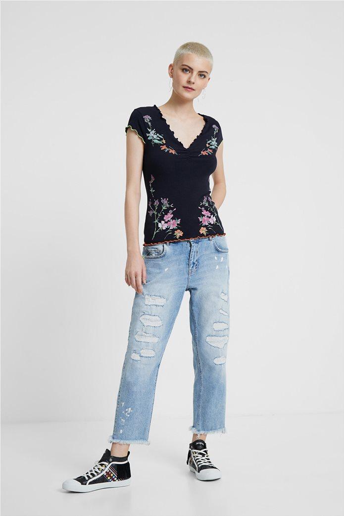"Desigual γυναικεία ribbed μπλούζα με floral print ""Vilna"" 3"
