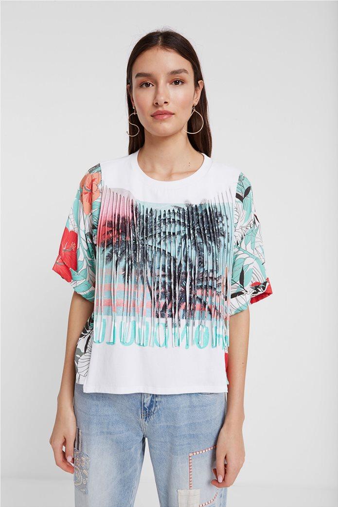 """Desigual γυναικεία μπλούζα με tropical print """"Honolulu"""" Λευκό 0"""