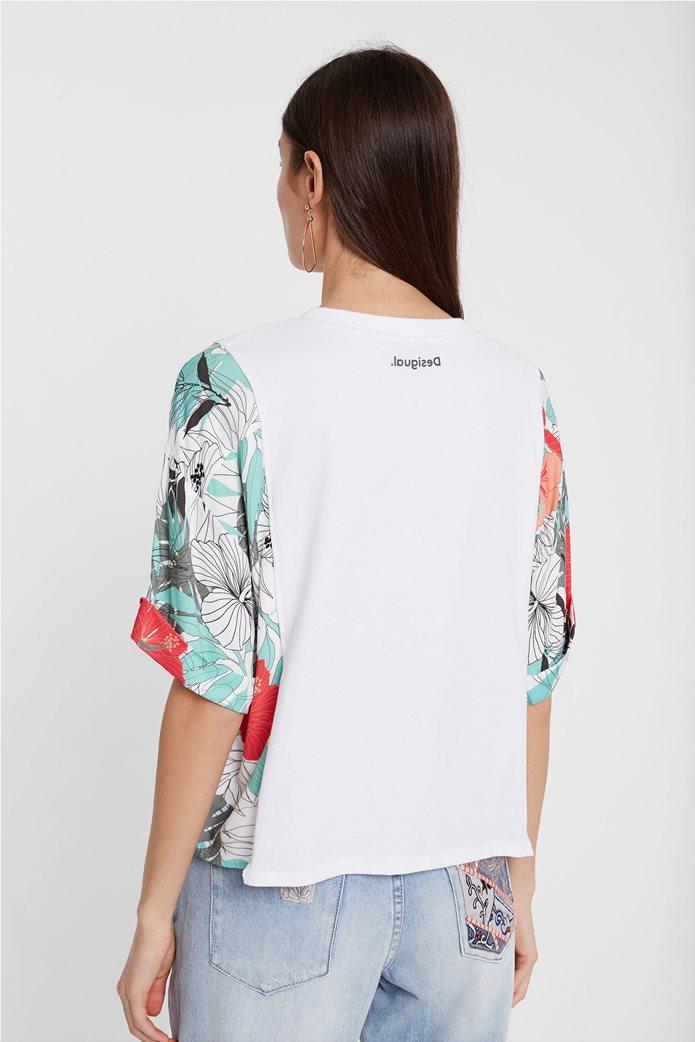 """Desigual γυναικεία μπλούζα με tropical print """"Honolulu"""" Λευκό 1"""