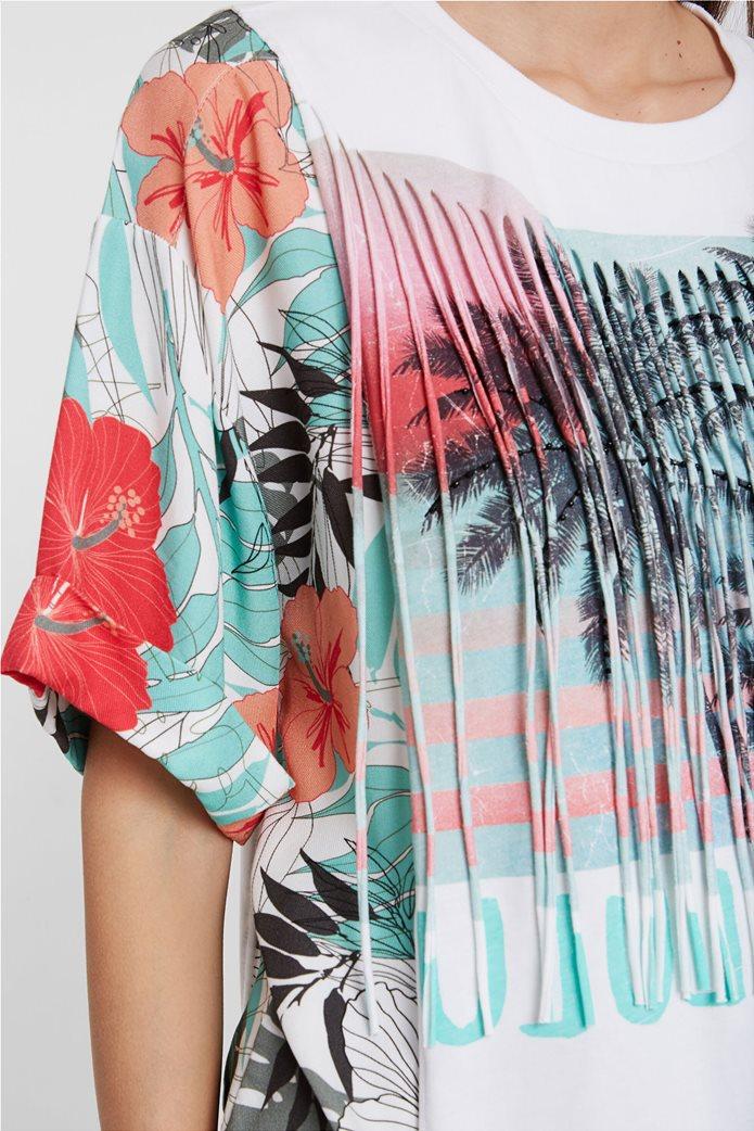 """Desigual γυναικεία μπλούζα με tropical print """"Honolulu"""" Λευκό 2"""