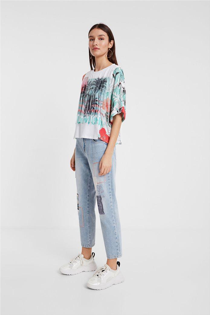 """Desigual γυναικεία μπλούζα με tropical print """"Honolulu"""" Λευκό 3"""