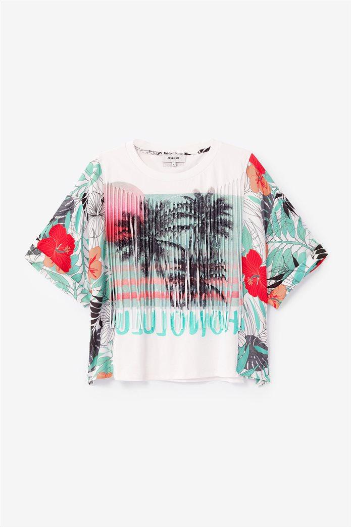 """Desigual γυναικεία μπλούζα με tropical print """"Honolulu"""" Λευκό 4"""