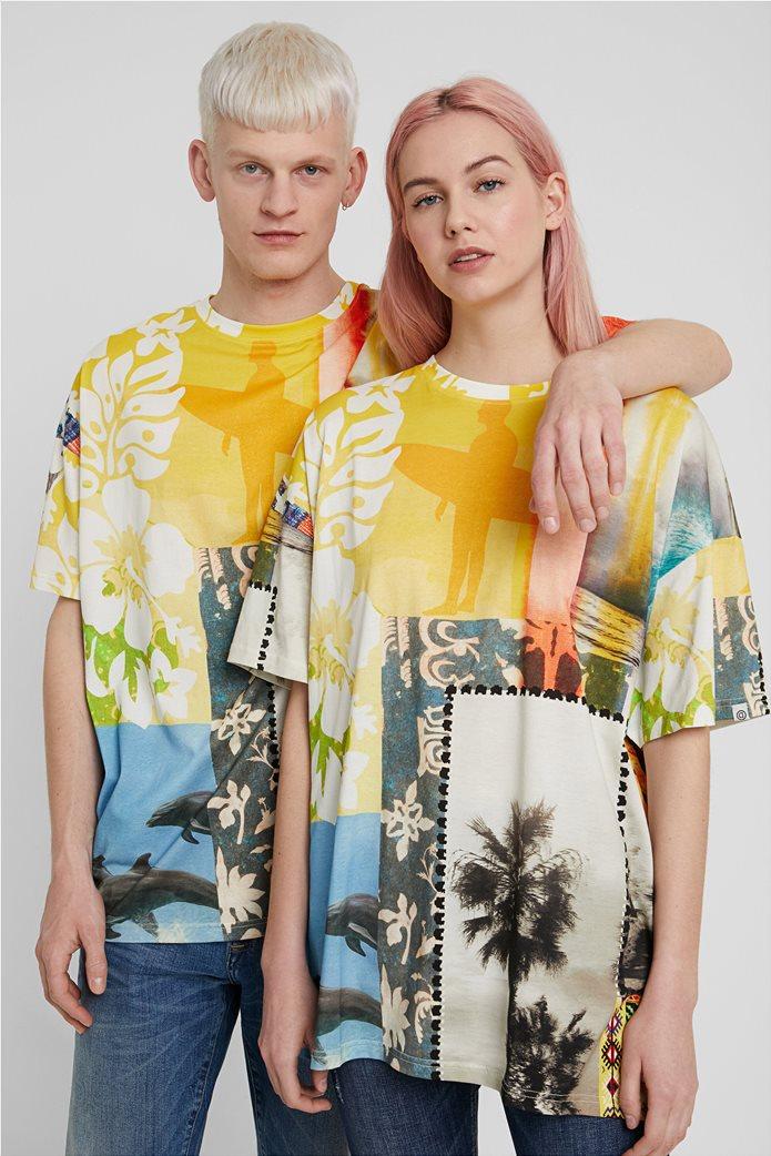 "Desigual unisex μπλούζα με Hawaiian print ""Hawai"" 0"