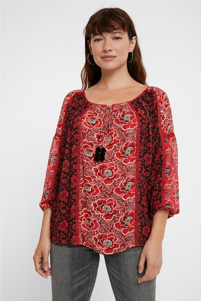 Desigual γυναικεία μπλούζα με floral print και διακοσμητικά pom-pon ''Georgina'' Μπορντό 0