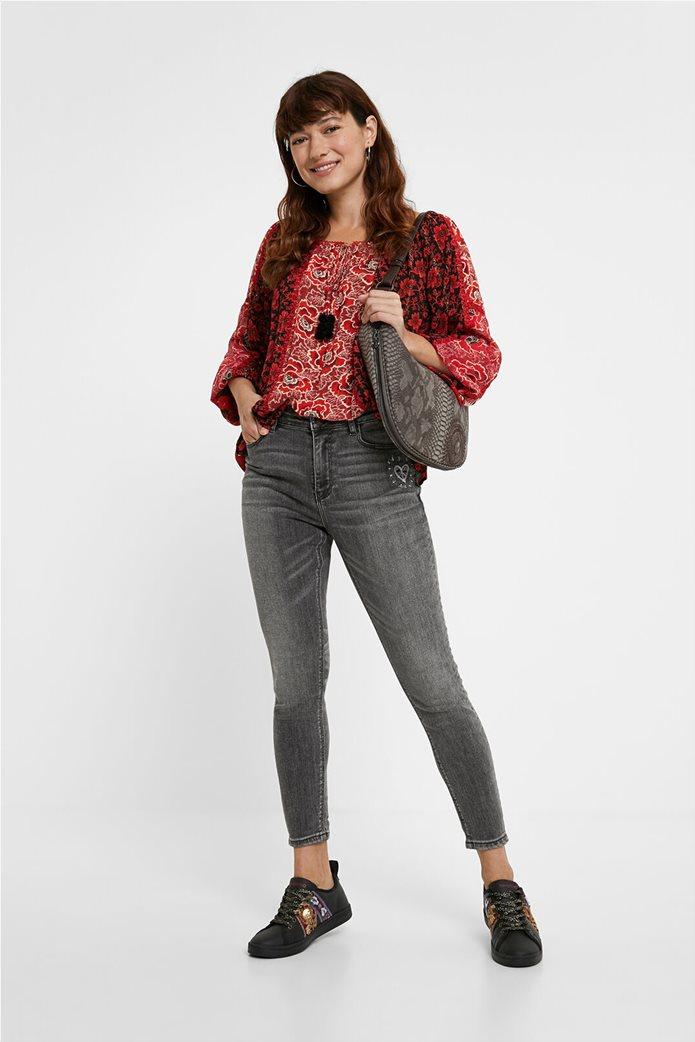 Desigual γυναικεία μπλούζα με floral print και διακοσμητικά pom-pon ''Georgina'' Μπορντό 1