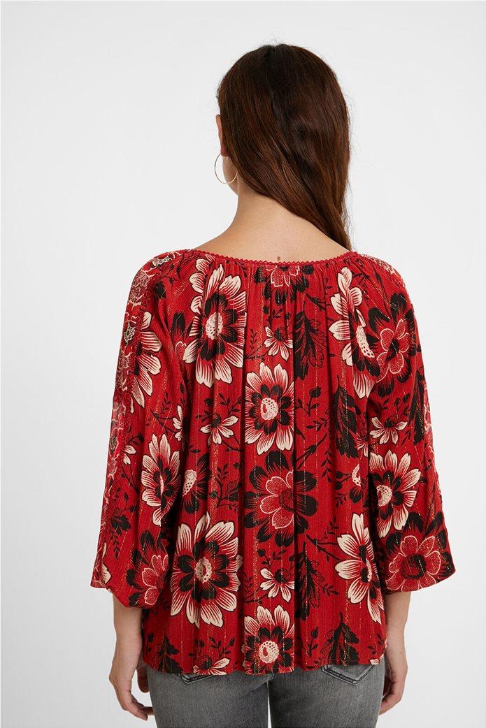 Desigual γυναικεία μπλούζα με floral print και διακοσμητικά pom-pon ''Georgina'' Μπορντό 2