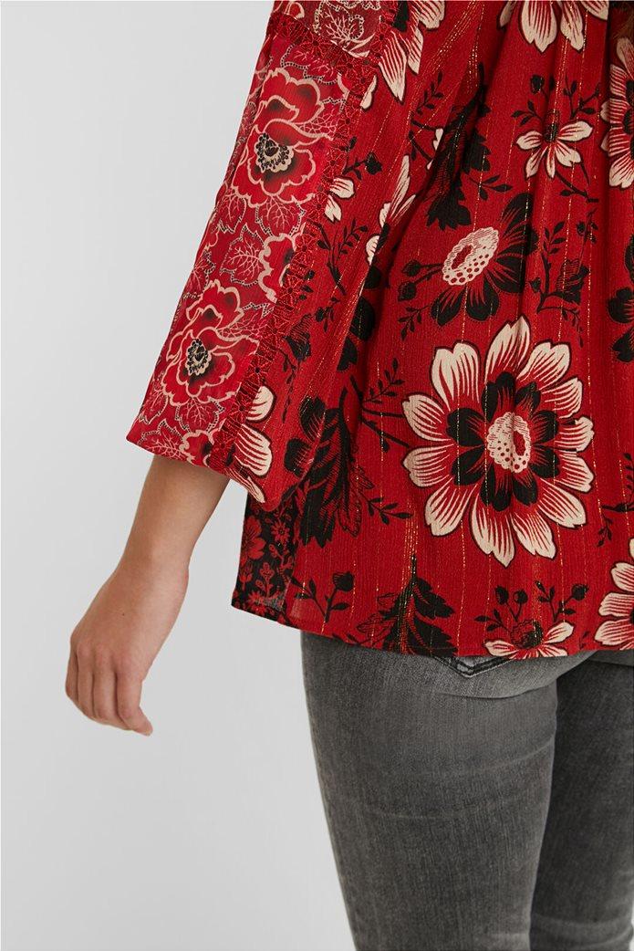 Desigual γυναικεία μπλούζα με floral print και διακοσμητικά pom-pon ''Georgina'' Μπορντό 4