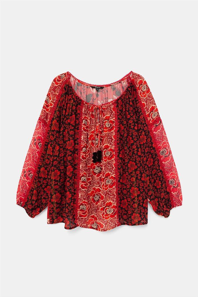 Desigual γυναικεία μπλούζα με floral print και διακοσμητικά pom-pon ''Georgina'' Μπορντό 5