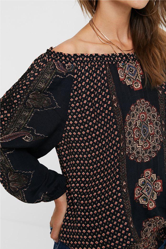 """Desigual γυναικεία μπλούζα με carmen λαιμόκοψη """"Karin"""" Μαύρο 4"""