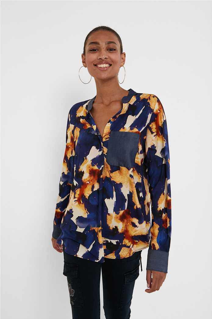 "Desigual γυναικείο πουκάμισο με all-over print και απλικέ τσέπη ""Verona"" Μπλε Σκούρο 0"