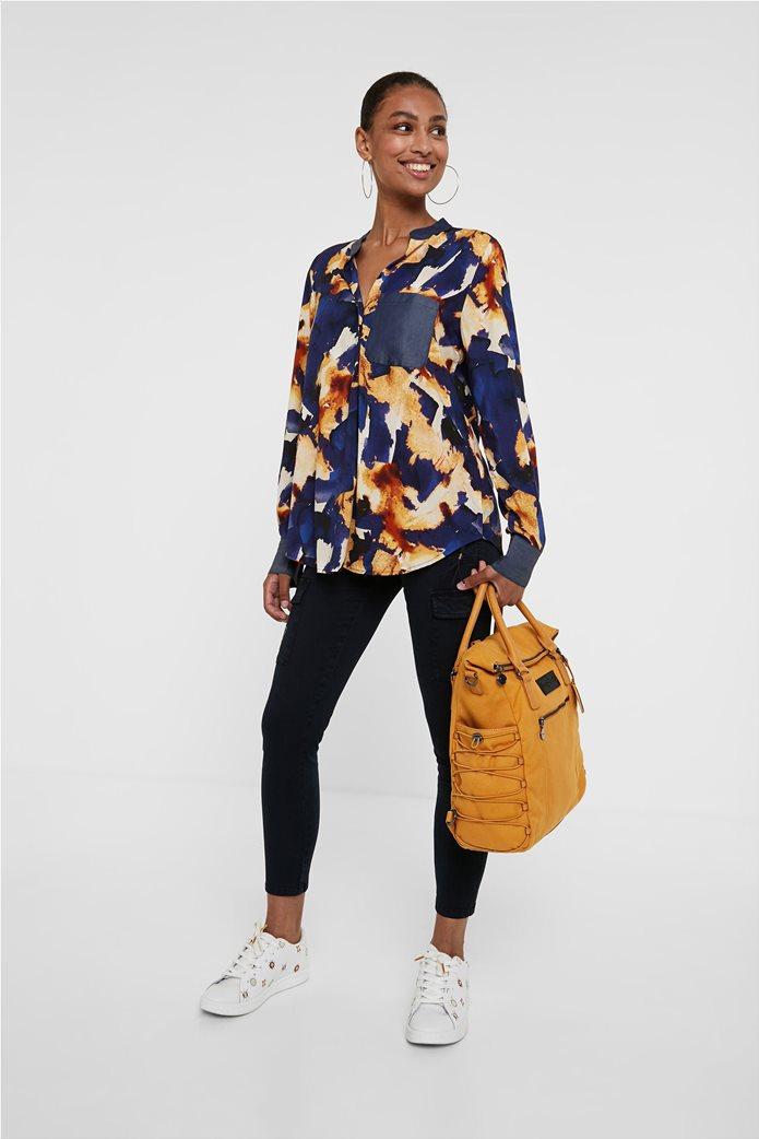 "Desigual γυναικείο πουκάμισο με all-over print και απλικέ τσέπη ""Verona"" Μπλε Σκούρο 1"