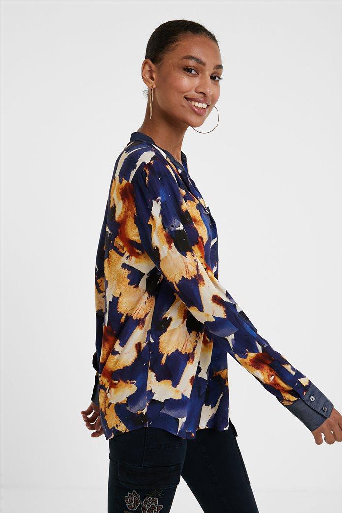 "Desigual γυναικείο πουκάμισο με all-over print και απλικέ τσέπη ""Verona"" Μπλε Σκούρο 2"