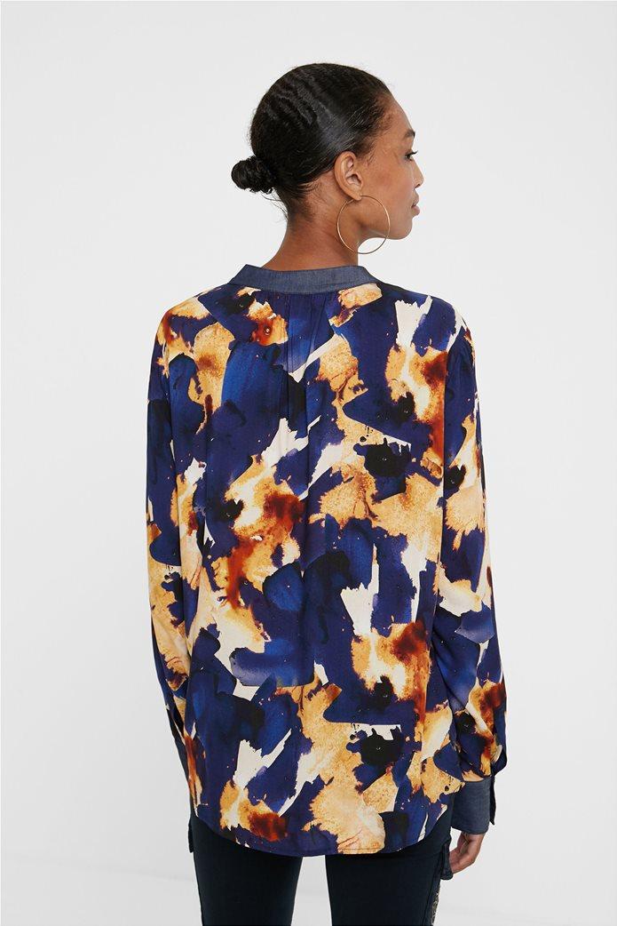 "Desigual γυναικείο πουκάμισο με all-over print και απλικέ τσέπη ""Verona"" Μπλε Σκούρο 3"
