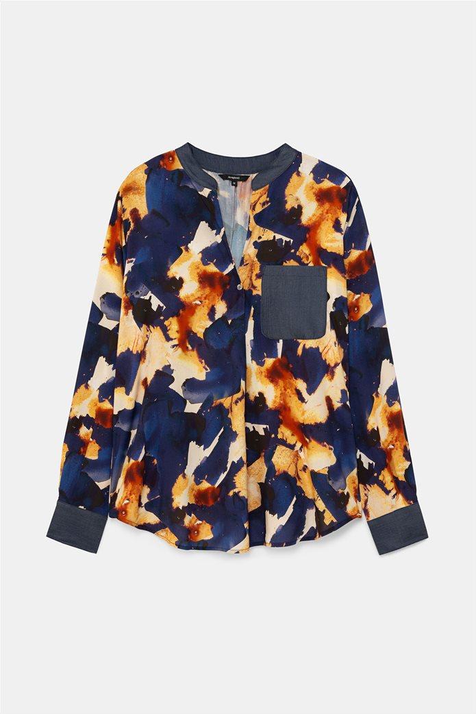 "Desigual γυναικείο πουκάμισο με all-over print και απλικέ τσέπη ""Verona"" Μπλε Σκούρο 5"
