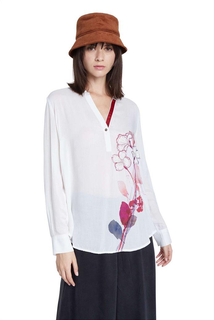 "Desigual γυναικεία μπλούζα με floral print και παγιέτες ""Senda"" Λευκό 0"