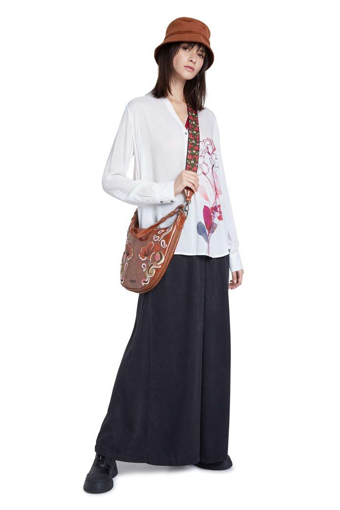 "Desigual γυναικεία μπλούζα με floral print και παγιέτες ""Senda"" Λευκό 1"