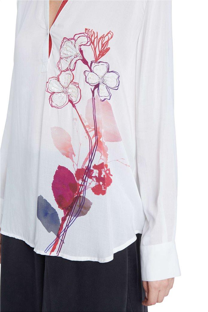 "Desigual γυναικεία μπλούζα με floral print και παγιέτες ""Senda"" Λευκό 3"