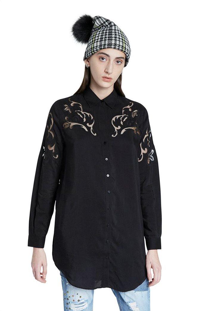 "Desigual γυναικεία πουκαμίσα ριγέ με διακοσμητικές διαφάνειες ""Volga"" Μαύρο 0"