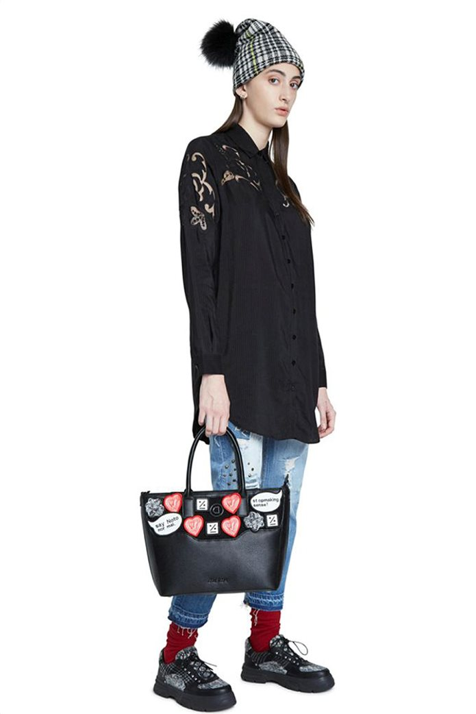 "Desigual γυναικεία πουκαμίσα ριγέ με διακοσμητικές διαφάνειες ""Volga"" Μαύρο 1"