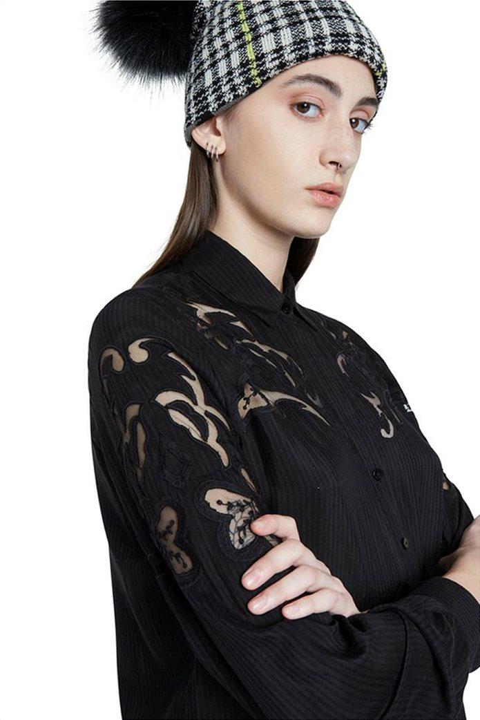 "Desigual γυναικεία πουκαμίσα ριγέ με διακοσμητικές διαφάνειες ""Volga"" Μαύρο 3"