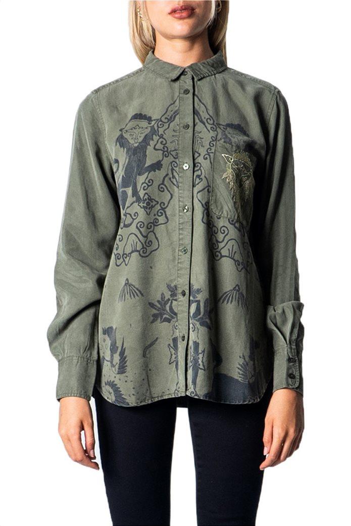 "Desigual γυναικείο πουκάμισο με all-over print ""Lionslove"" Λαδί 0"