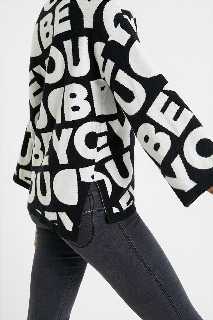 "Desigual γυναικείο πουλόβερ με  letterin all-over ""Toronto"" Μαύρο 3"