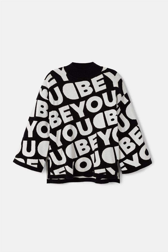 "Desigual γυναικείο πουλόβερ με  letterin all-over ""Toronto"" Μαύρο 4"