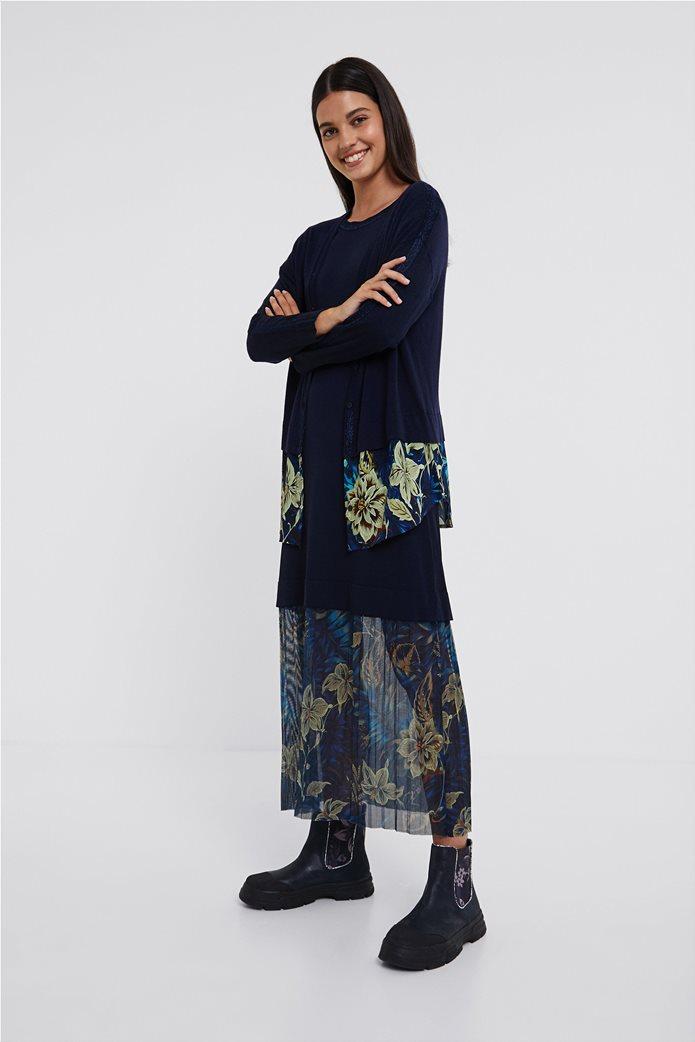 "Desigual γυναικεία ζακέτα πλεκτή με floral ύφασμα στο κάτω μέρος ""Lucerna"" Μπλε Σκούρο 0"