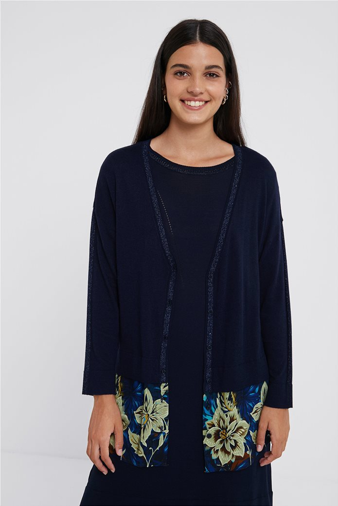 "Desigual γυναικεία ζακέτα πλεκτή με floral ύφασμα στο κάτω μέρος ""Lucerna"" Μπλε Σκούρο 2"