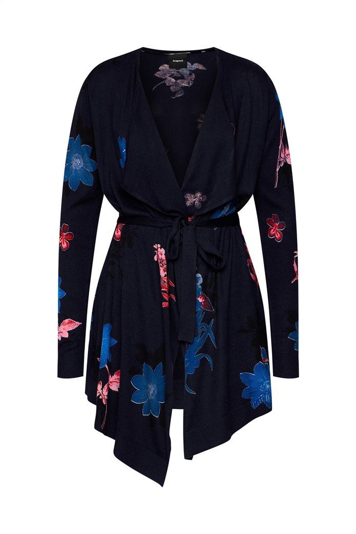 "Desigual γυναικεία πλεκτή ζακέτα με λουλούδια στην πλέξη ""Oporto"" Μπλε Σκούρο 4"