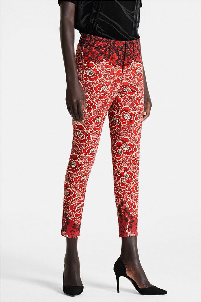 "Desigual γυναικείο παντελόνι πεντάτσεπο με floral print By Christian Lacroix ""Altea"" Κόκκινο 0"