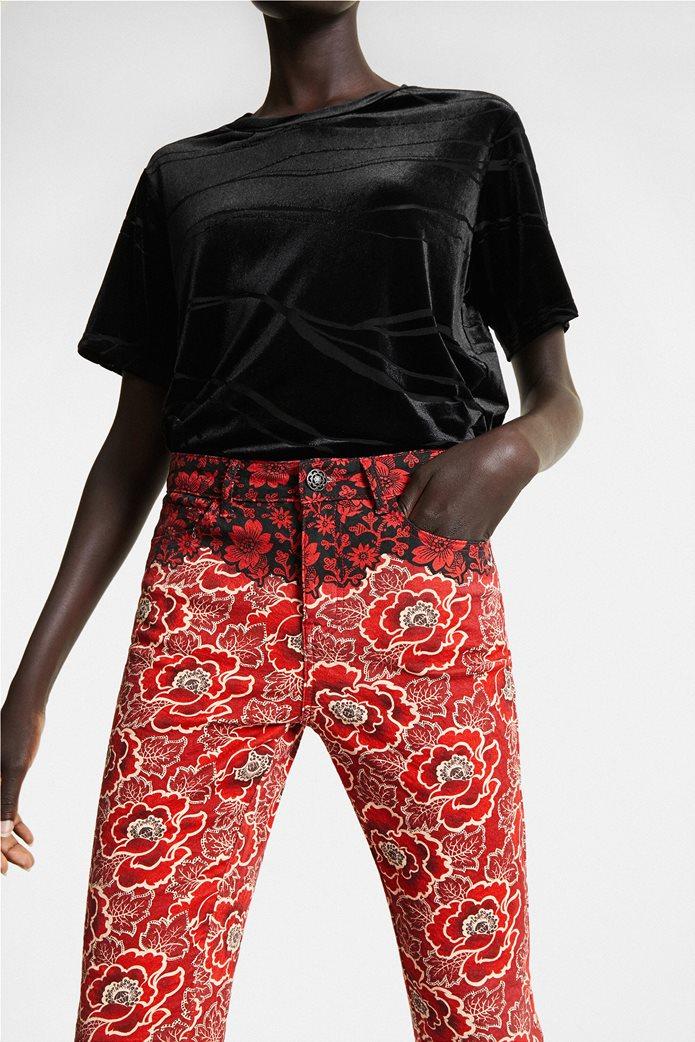 "Desigual γυναικείο παντελόνι πεντάτσεπο με floral print By Christian Lacroix ""Altea"" Κόκκινο 2"