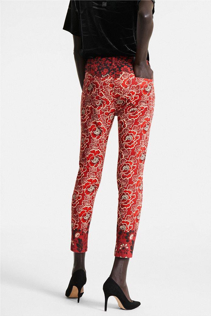 "Desigual γυναικείο παντελόνι πεντάτσεπο με floral print By Christian Lacroix ""Altea"" Κόκκινο 3"