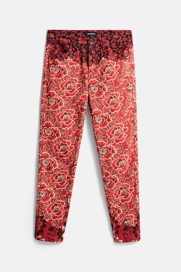 "Desigual γυναικείο παντελόνι πεντάτσεπο με floral print By Christian Lacroix ""Altea"" Κόκκινο 5"
