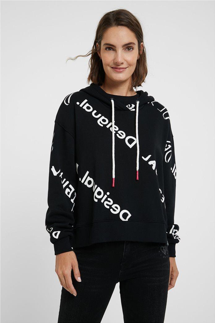 "Desigual γυναικείο φούτερ με logo print all-over ""Chad"" Μαύρο 0"
