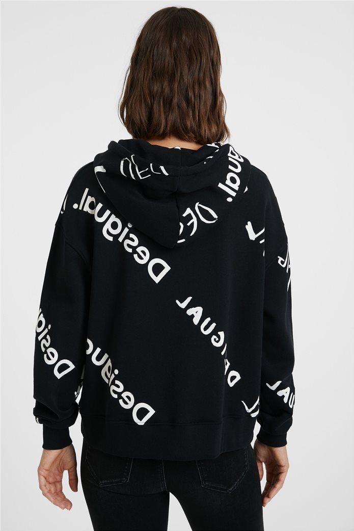 "Desigual γυναικείο φούτερ με logo print all-over ""Chad"" Μαύρο 3"