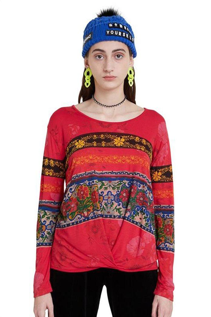 "Desigual γυναικεία μπλούζα floral borders ""Yess"" Κόκκινο 0"