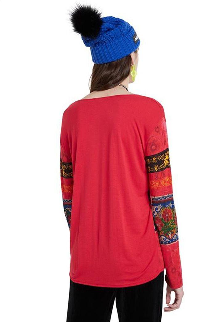 "Desigual γυναικεία μπλούζα floral borders ""Yess"" Κόκκινο 1"