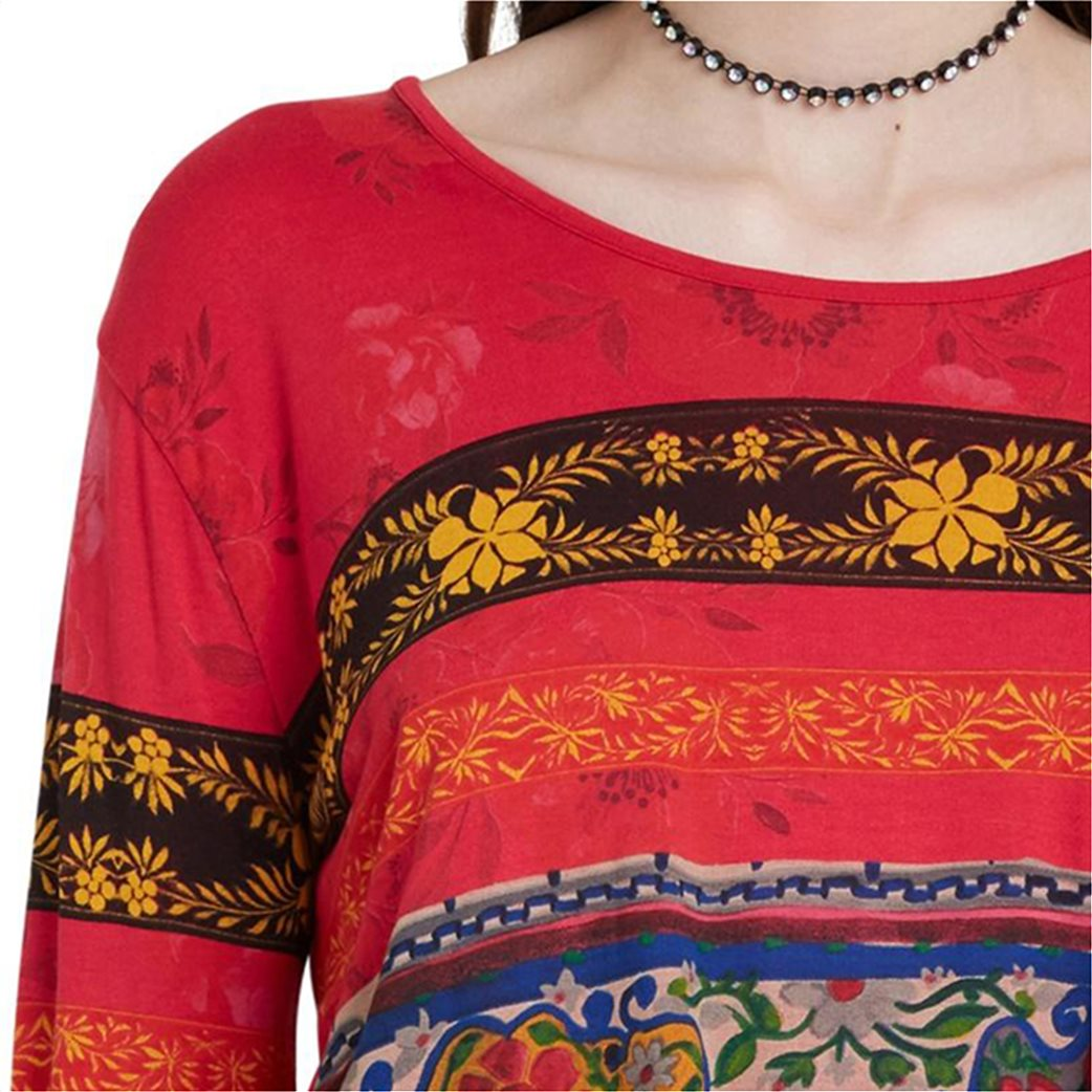 "Desigual γυναικεία μπλούζα floral borders ""Yess"" Κόκκινο 2"