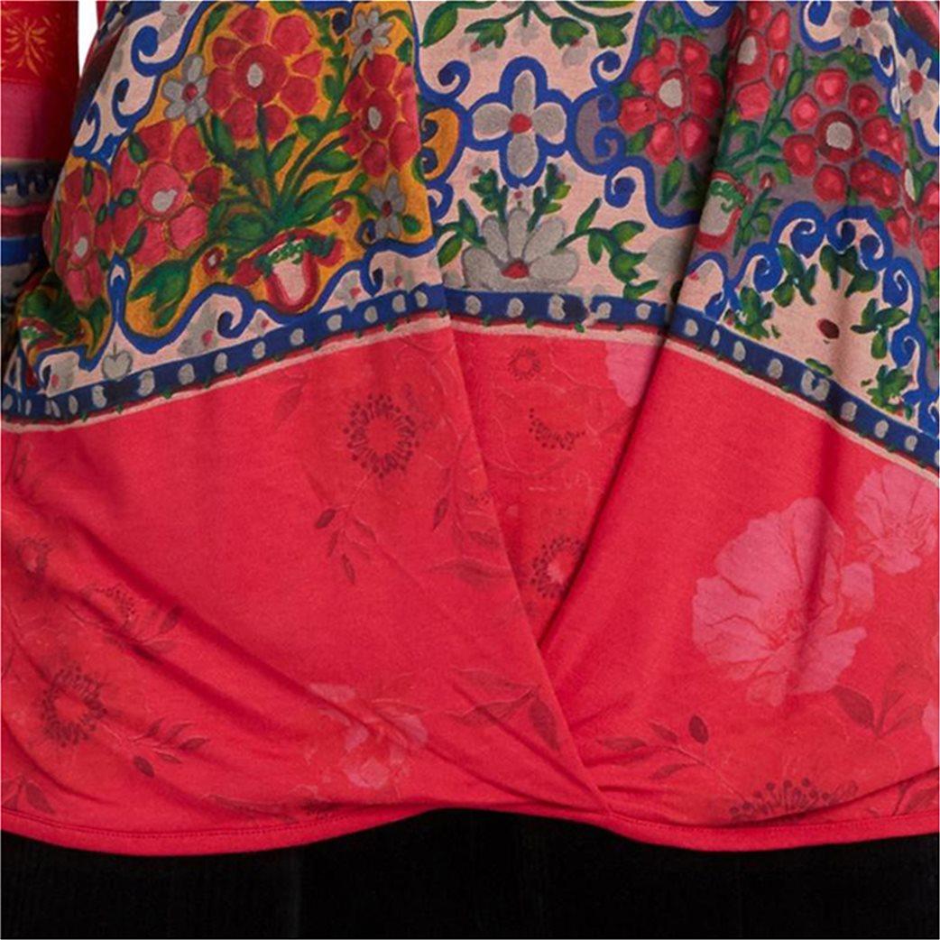 "Desigual γυναικεία μπλούζα floral borders ""Yess"" Κόκκινο 3"