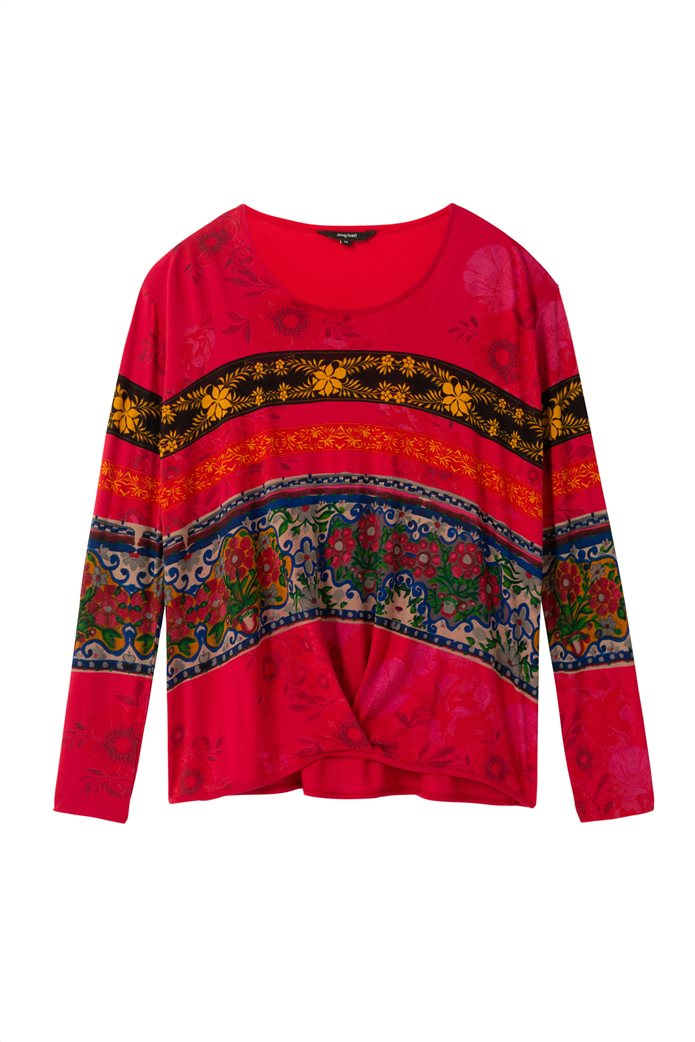 "Desigual γυναικεία μπλούζα floral borders ""Yess"" Κόκκινο 4"