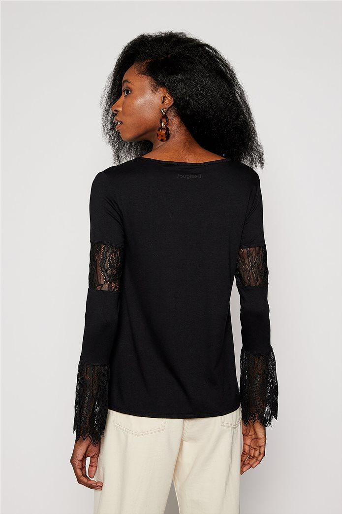 "Desigual γυναικεία μπλούζα με δαντέλα στα μανίκια ""Amelia"" Μαύρο 2"