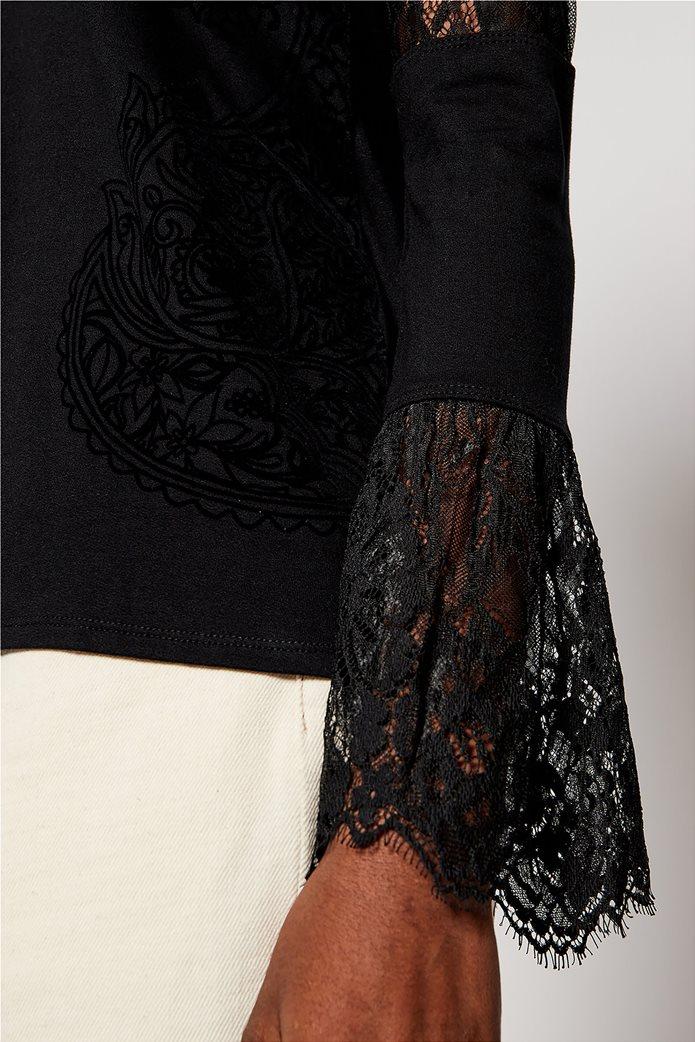 "Desigual γυναικεία μπλούζα με δαντέλα στα μανίκια ""Amelia"" Μαύρο 3"