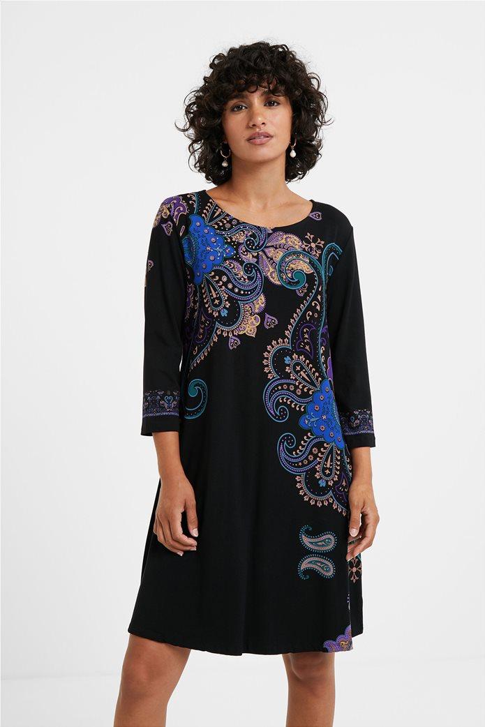 "Desigual γυναικείο mini φόρεμα paisley print ""Washintong"" Μαύρο 0"