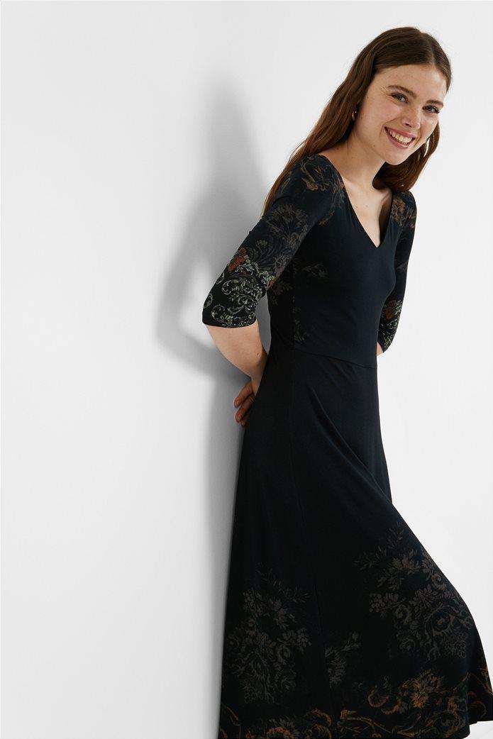 "Desigual γυναικείο midi φόρεμα με floral print ""Vero"" Μαύρο 0"