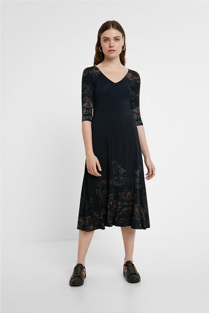 "Desigual γυναικείο midi φόρεμα με floral print ""Vero"" Μαύρο 1"