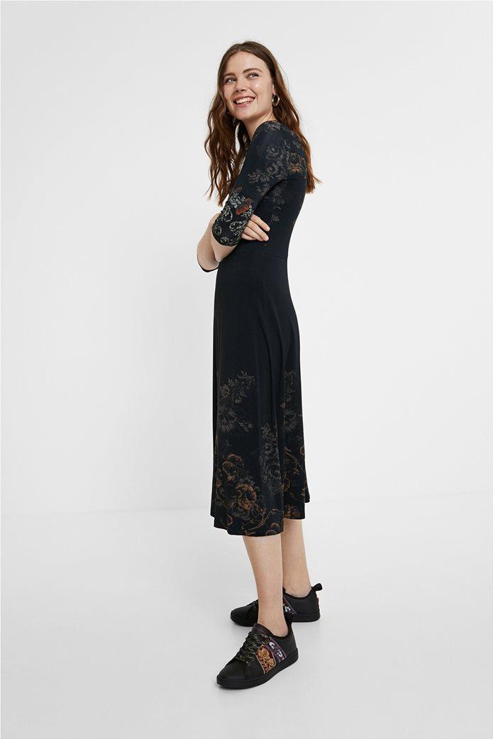 "Desigual γυναικείο midi φόρεμα με floral print ""Vero"" Μαύρο 2"