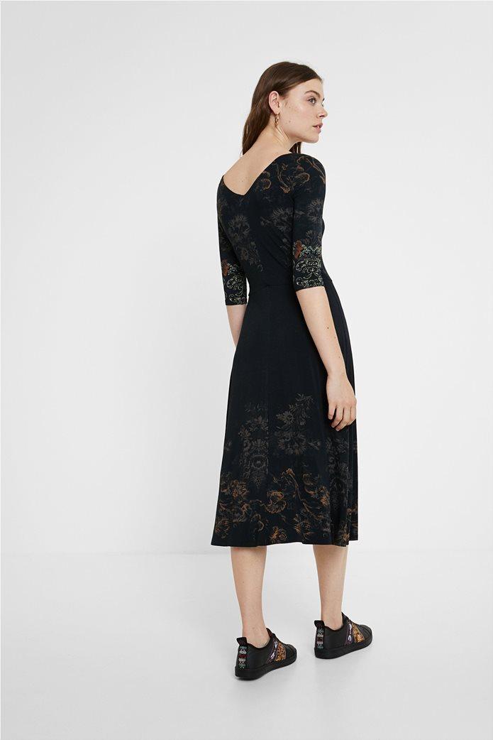 "Desigual γυναικείο midi φόρεμα με floral print ""Vero"" Μαύρο 3"